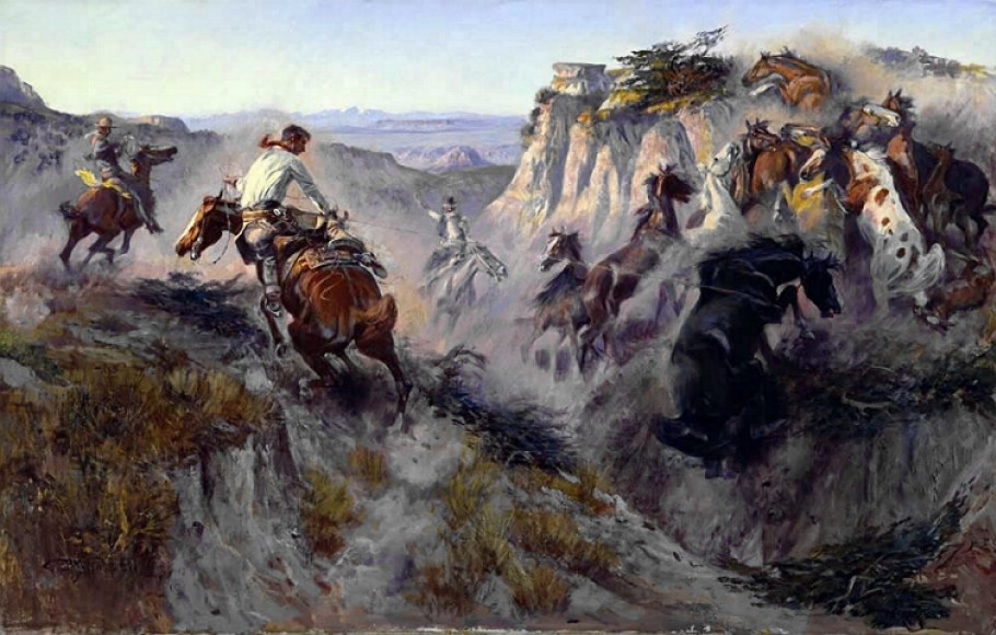 Charles Marion Russell painting - Wild Horse Hunters