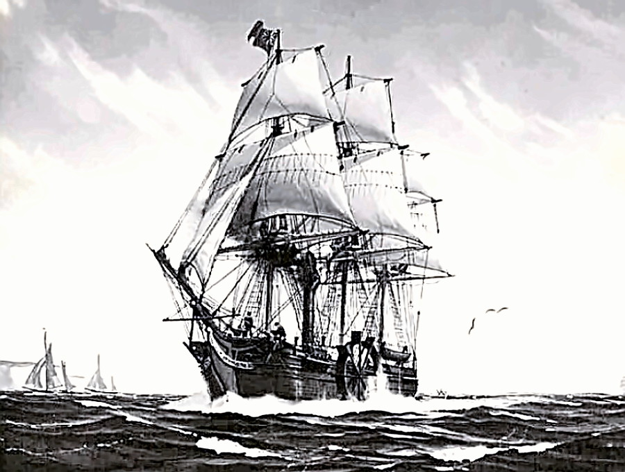 SS Savannah under sail and steam - first US steamship to cross the Atlantic