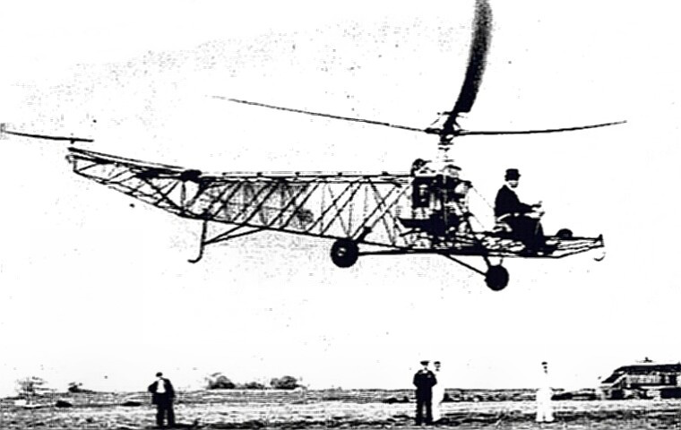Aviation Pioneer Igor Sikorsky flying his helo
