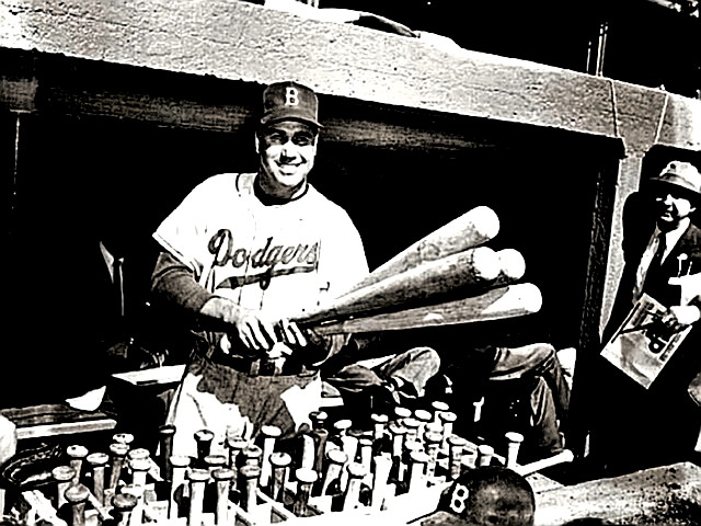Duke Snider in the Dodger Dugout