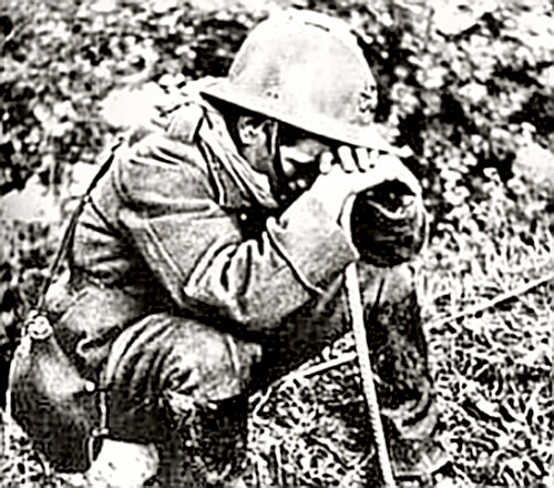 A soldier weeping in defeat