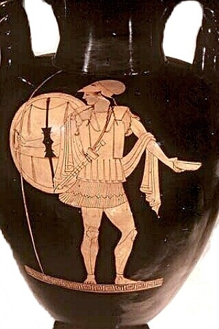 A Spartan Warrior as depicted on an ancient Greek vase