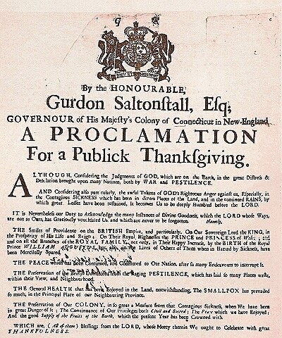 Thanksgiving Proclamation 1721