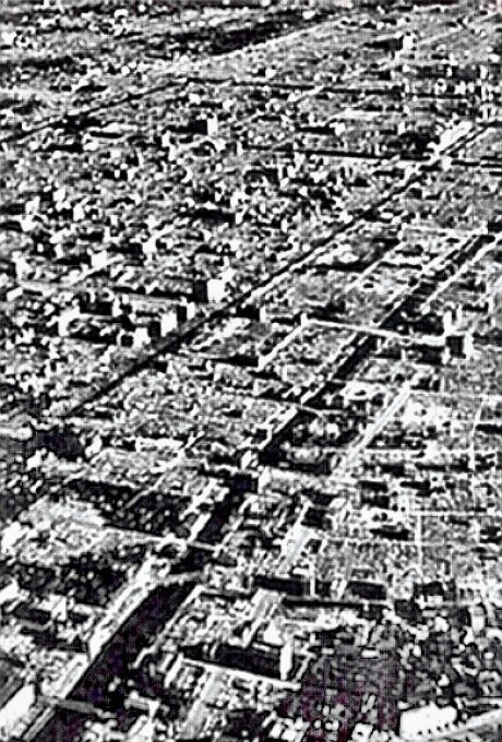 Tokyo firebombing - aerial view of destruction