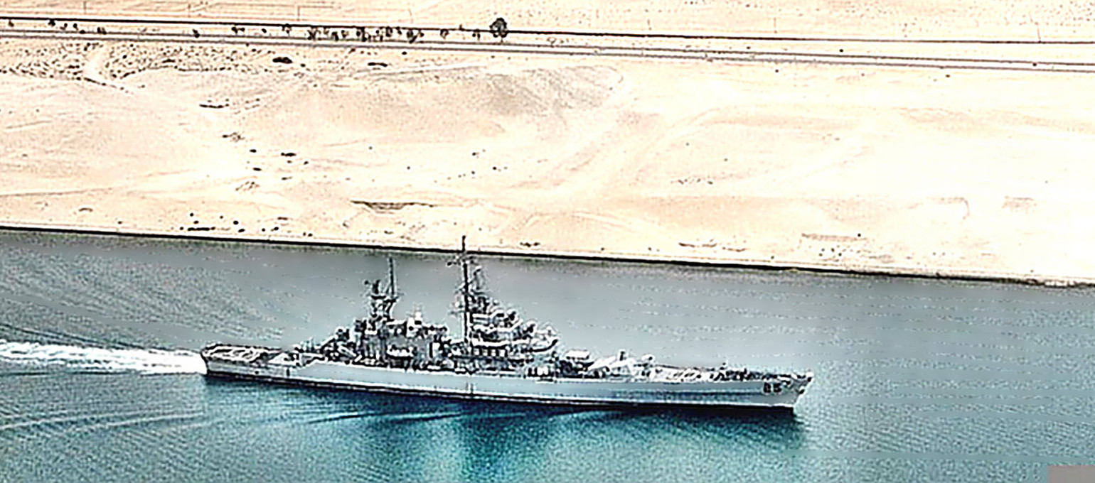 Cruiser USS Bainbridge (CGN-25) in Suez Canal