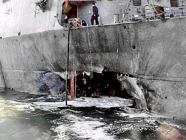 USS Cole - close up of the damage