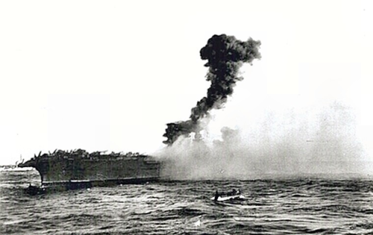 USS Lexington is lost at battle of the Coral Sea
