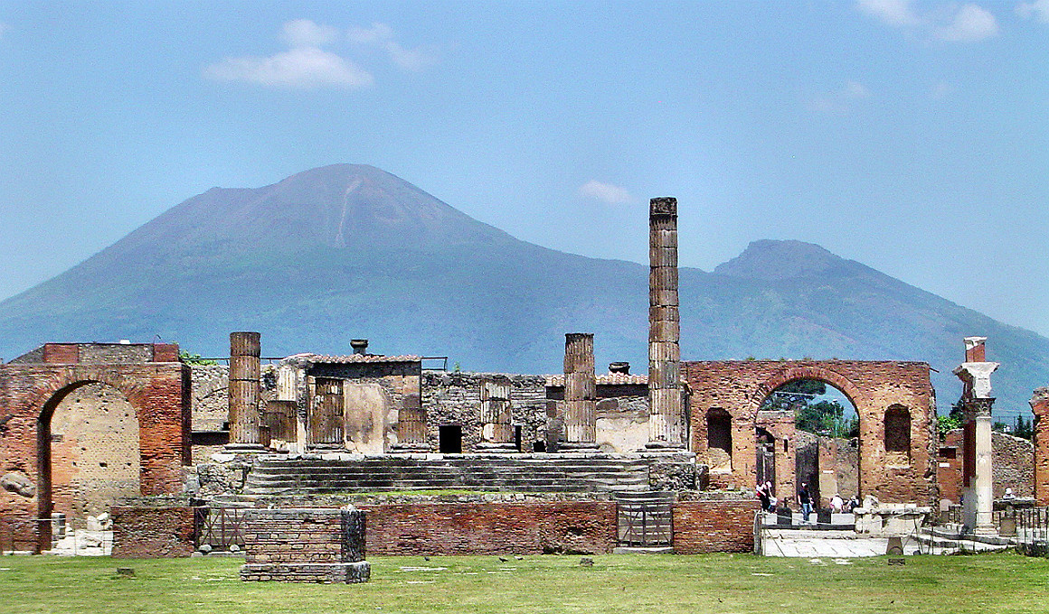 Mount Vesuvius as seen from the ruins of the Roman City of Pompeii