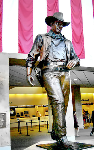 Statue of Actor John Wayne at Orange County Airport