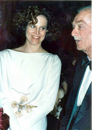 TV Exec. Pat Weaver with daughter Sigourney