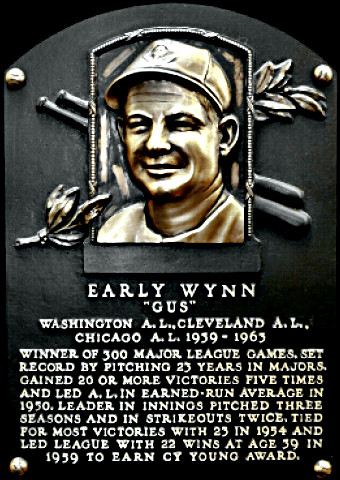 Early Wynn Hall of Fame plaque